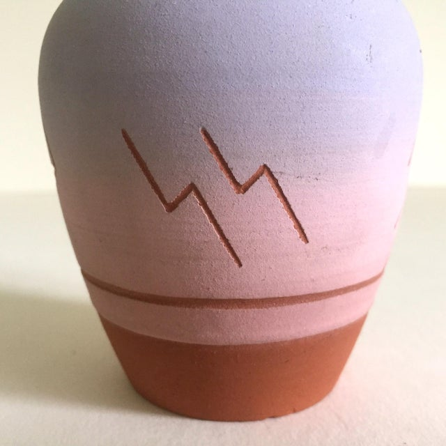 Vintage Native American Sioux Havel Marie Signed Pink Purple Ombre Terra Cotta Vase For Sale In New York - Image 6 of 11