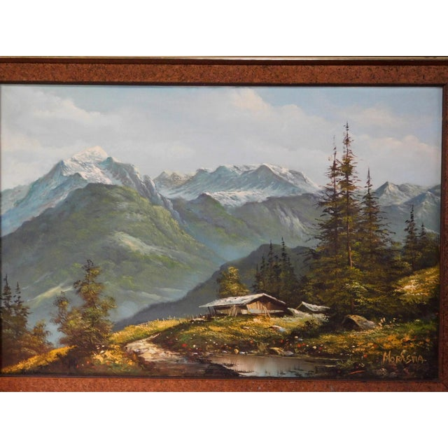 Mid 20th Century Mountain Landscape Oil Painting, Framed For Sale - Image 4 of 6