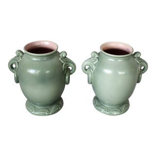 Green Handle Celadon Vases - a Pair For Sale