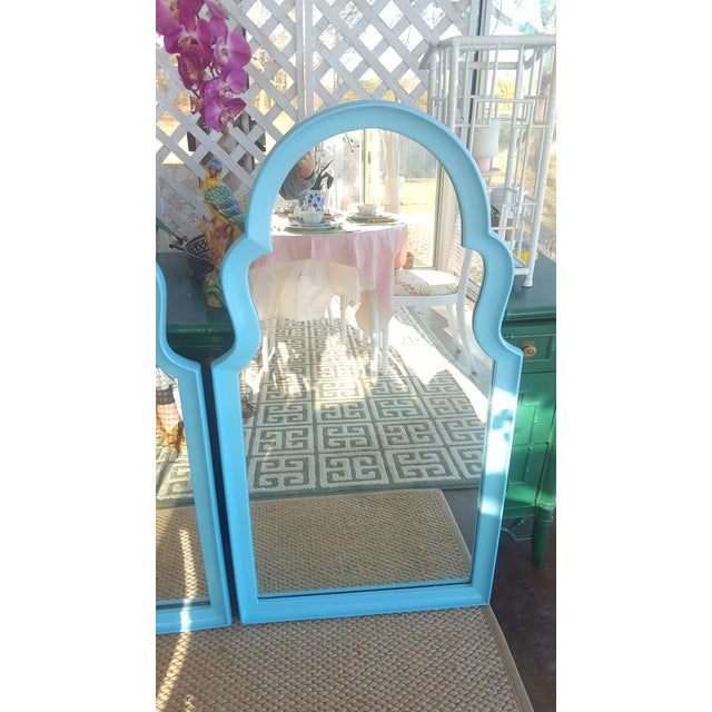 Set of 2- Vintage Moroccan Style Turqouise Blue Mirrors For Sale In Charlotte - Image 6 of 10
