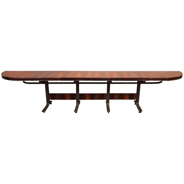 Rosewood & Steel Console For Sale - Image 11 of 11