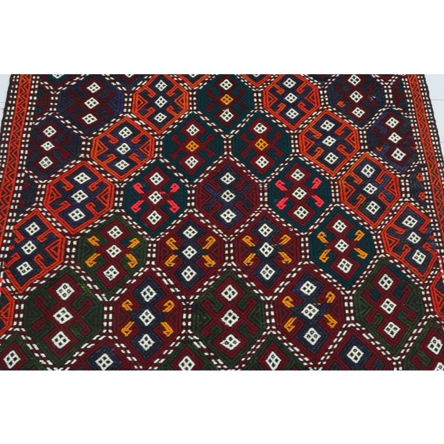 Art Deco Vintage Turkish Kilim Rug For Sale - Image 3 of 13