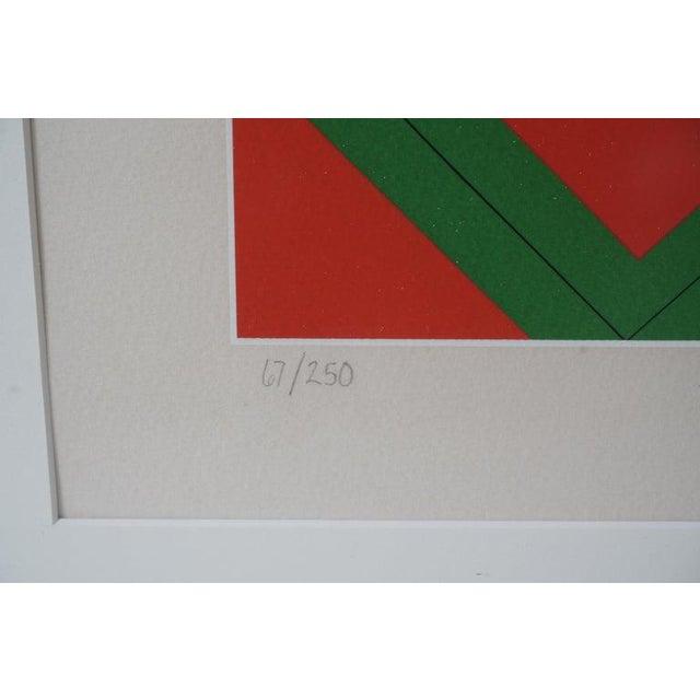Op Art Vintage Vasarely Pencil Signed and Numbered Limited Edition 67/250 Op Art Original Print Custom Framed For Sale - Image 3 of 11