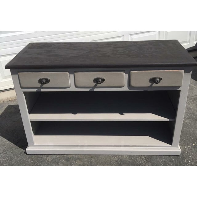 Refurbished Curio Cabinet painted in Windsor Gray and lightly distressed. Finished in dark wax for protection. New...