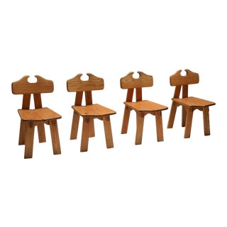 1970s Spanish Brutalist Chairs in Solid Oak - Set of 4 For Sale