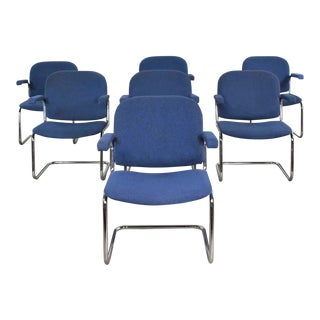 Vintage Tubular Chrome and Blue Fabric Cantilever Lounge Chair With Arms, 7 Available For Sale
