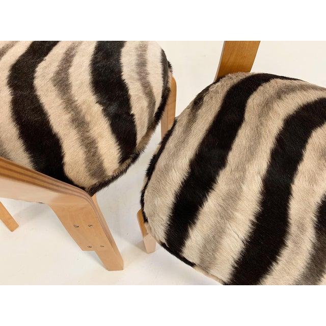 Wood Alvar Aalto Model 66 Chairs in Zebra Hide, Pair For Sale - Image 7 of 9