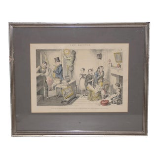 """George Cruikshank """"The Bottle"""" Plate III Hand Colored Engraving 19th C. For Sale"""