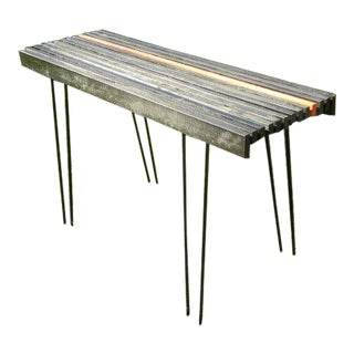 1960s Mid Century Modern Slat Console Entry Table For Sale