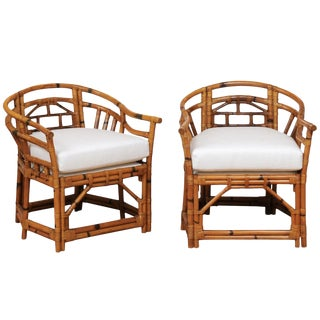 An Exquisite Pair of Horseshoe Back Rattan Club Chairs by McGuire, Circa 1975 For Sale