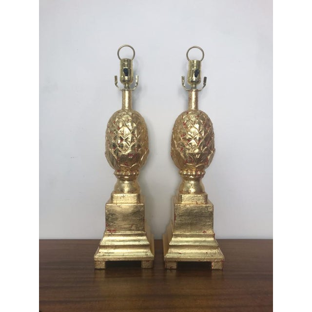 Wood Vintage Pineapple Lamps in Gold Leaf - a Pair For Sale - Image 7 of 7