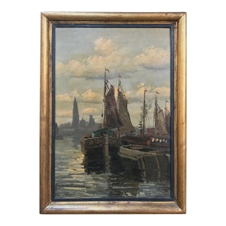 Antique Framed Oil Painting on Board by Reynaert For Sale