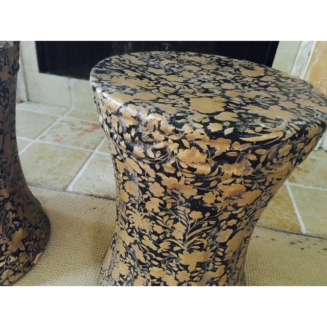 Gold and Black Pedestal Side Tables - A Pair - Image 6 of 8