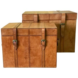 Brown Leather Storage Trunk Boxes - a Pair