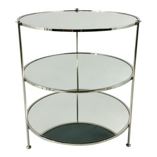 Worlds Away Three Tier Nickel and Mirror Side Table For Sale