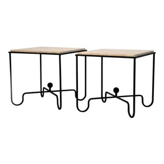 "Contemporary Design Frères Wrought Iron and Travertine ""Entretoise"" Side Tables - a Pair For Sale"