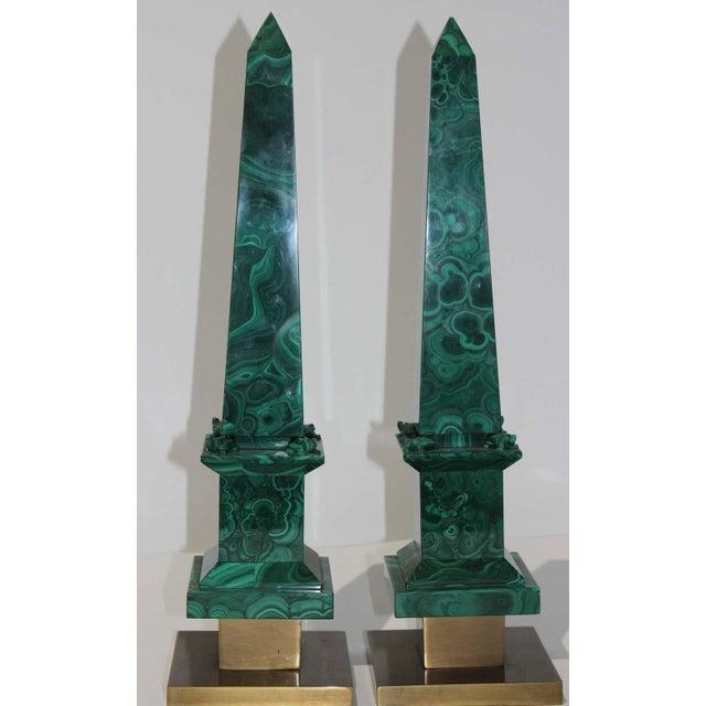 Modern Vintage Claude De Muzac Malachite Pyramid & Obelisks - Set of 3 For Sale - Image 3 of 13