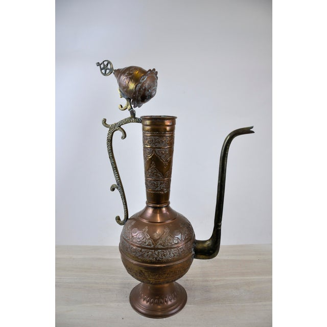 Antique 19th C. Middle Eastern Tinned Copper Ewer For Sale In New York - Image 6 of 11