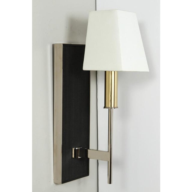 Paul Marra One-Arm Horsehair Sconce with graphite colored horsehair, leather trim, brass candle cover, custom shield silk...