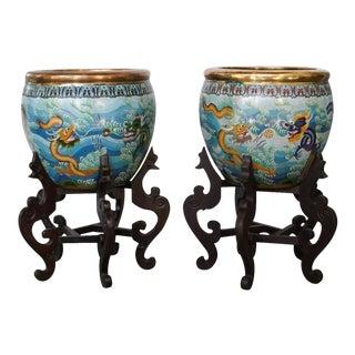 Chinese Cloisonné Fish Bowls Planters- a Pair For Sale