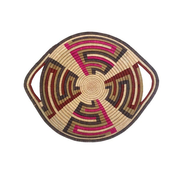 Woven Sisal African Tray For Sale - Image 4 of 4