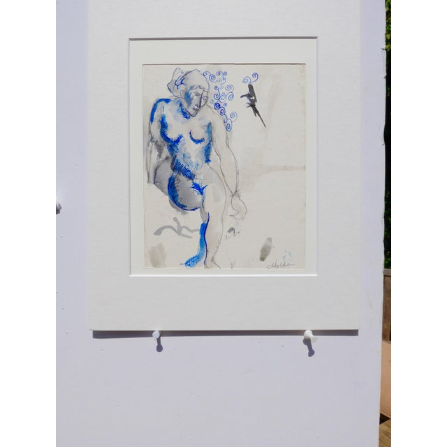 """Blue Nude"" Original Drawing - Image 3 of 4"