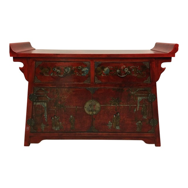 Chinese Antique Style Painted Buffet Cabinet - Image 1 of 8