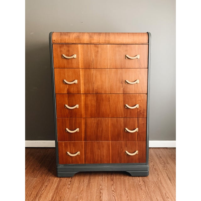 Art Deco 1940s Art Deco Waterfall Tall Dresser For Sale - Image 3 of 3