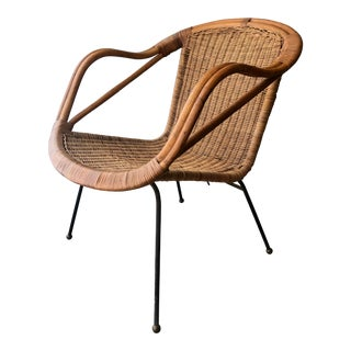 Vintage Mid-Century Rattan and Bamboo Hoop Chair For Sale