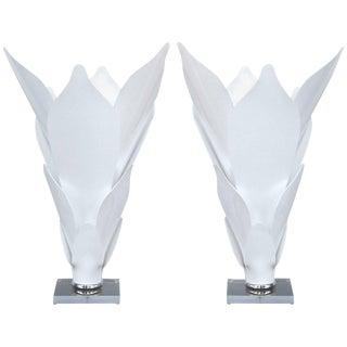 Lucite Acrylic Petal Table Lamps - a Pair For Sale