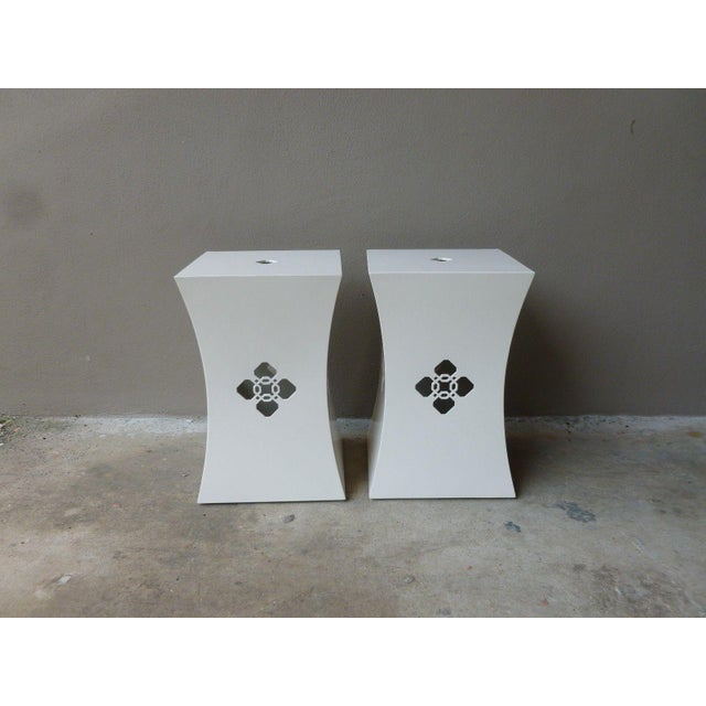 Chinoiserie White Lacquer Stands - a Pair For Sale - Image 9 of 9