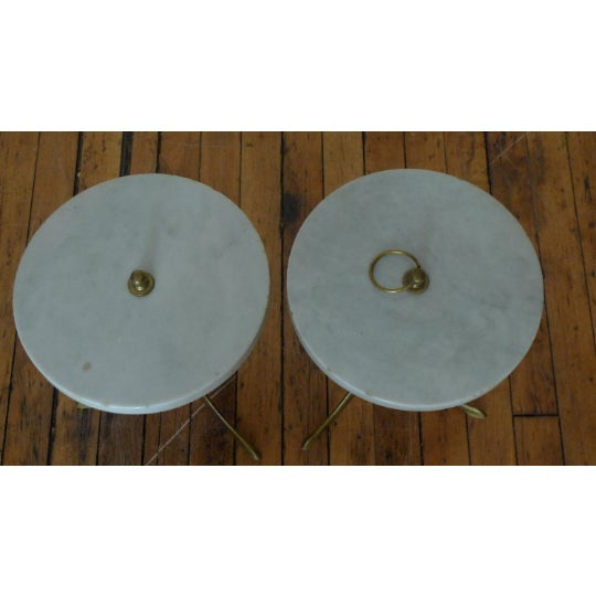 1950s Vintage Round Marble and Brass Tea Tables - a Pair For Sale - Image 5 of 8