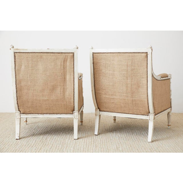 Pair of Louis XVI Swedish Gustavian Style Bergère Armchairs For Sale - Image 12 of 13