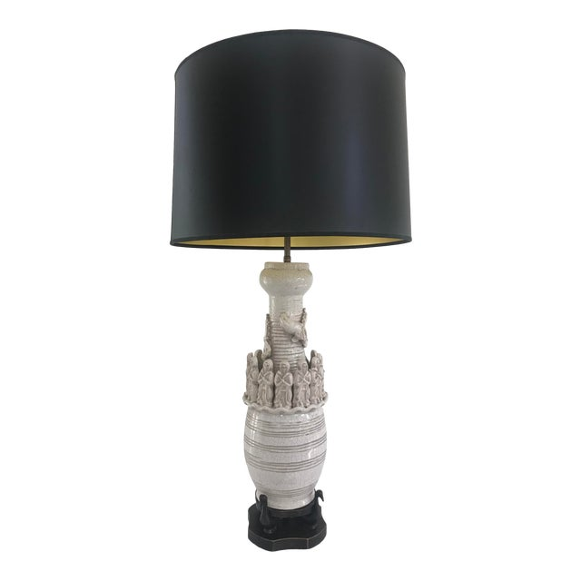 Brutalist Mid Century Modern Porcelain Crackeled Glaze Table Lamp Dragon With Monks Hand Crafted Mahogany Swan Base Ceramic Crackel Glaze Pottery For Sale