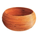 Image of Vintage Mid-Century Crespi Style Pencil Reed Rattan Planter / Table For Sale