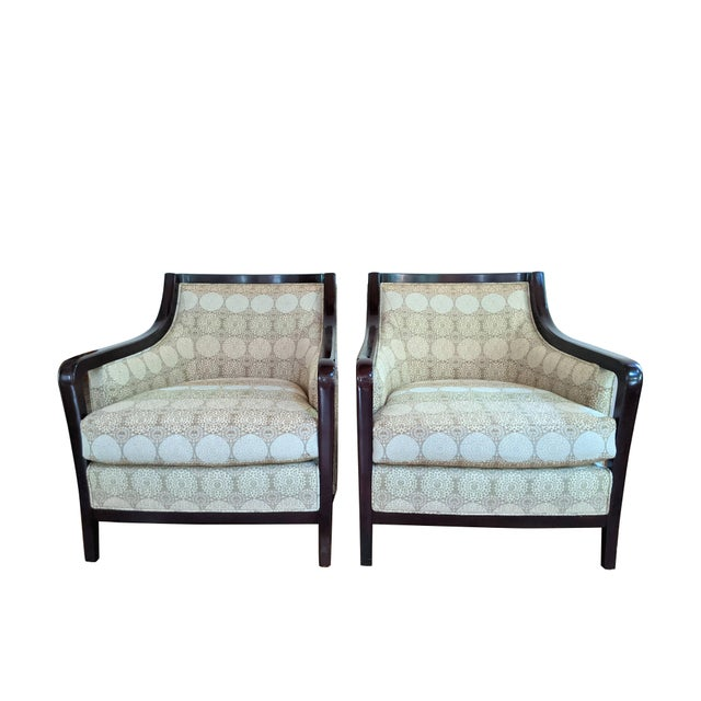 Timeless Barbara Barry for Baker Furniture salon chairs manufactured in 2008. The inviting armchair pair exudes elegance...