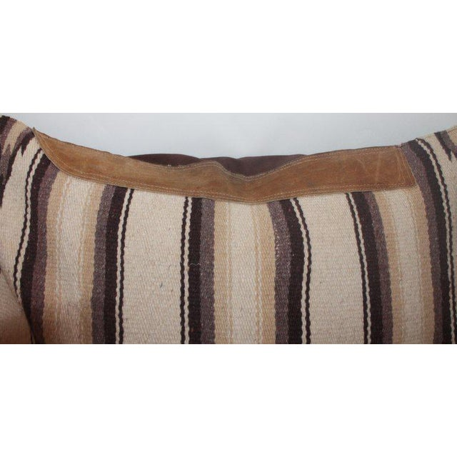 Navajo Indian Weaving Saddle Blanket Pillow With Leather Trim For Sale - Image 4 of 9