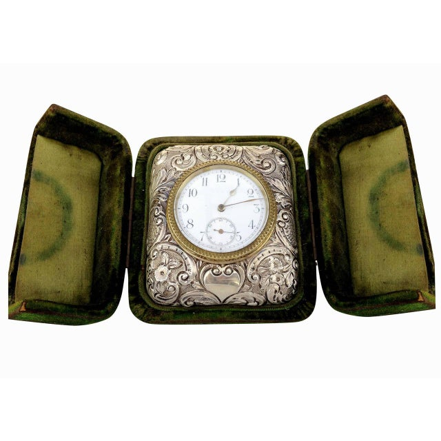 Victorian Silver Embossed Bed Side Clock by Douglas Clock Company - Image 2 of 7