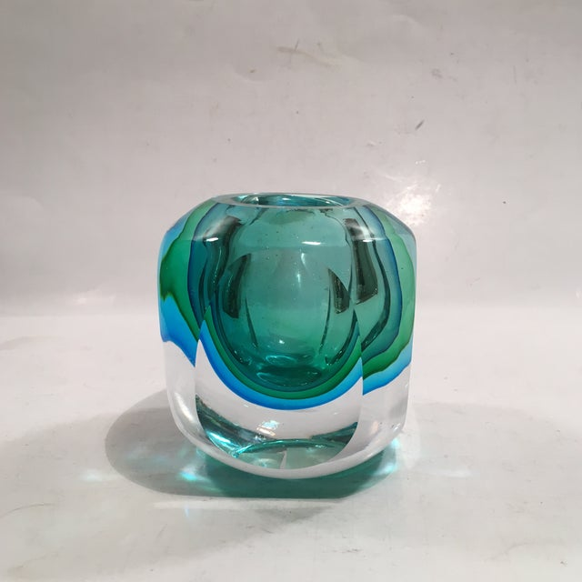 Crystal Cased Green & Blue Glass Candle Holder - Image 5 of 8