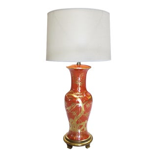 Tall American 1960s Orange and Red Porcelain Lamp with Gilt Decoration by Marbro For Sale