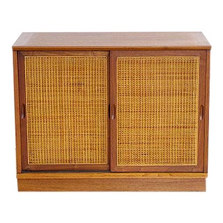 Jack Cartwright Walnut and Cane Cabinet For Sale
