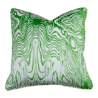 "Faux Bois Greenery Morning Mist 22"" Velvet Pillow For Sale"