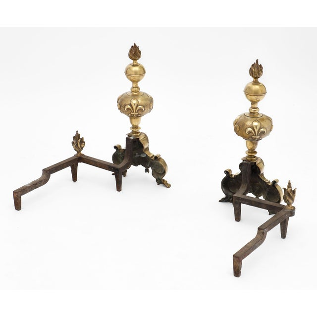 Antique French Louis XIV Bronze Andirons - a Pair For Sale - Image 9 of 10