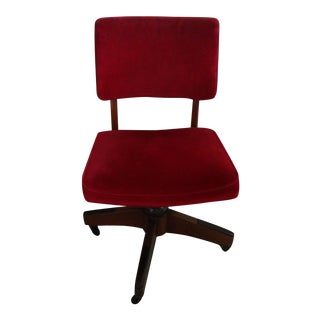 Antique Red Micro-Fiber Upholstered Rolling/Swivel Desk Chair