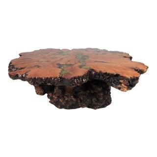 Burl Wood Free Edge Coffee Table For Sale