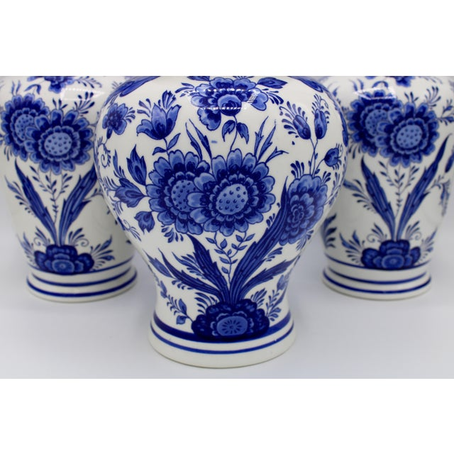 Mid-20th Century Blue and White Floral Dutch Delft Ginger Jar and Vase Set For Sale - Image 12 of 13