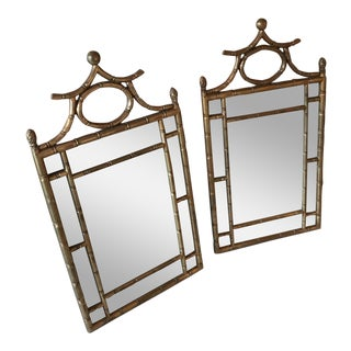 Chinoiserie Gilt Faux Bamboo Mirrors - a Pair