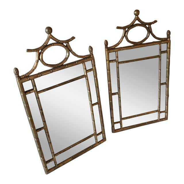 Chinoiserie Gilt Faux Bamboo Mirrors - a Pair For Sale