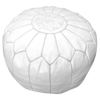 Modern White Moroccan Handmade Leather Pouf For Sale