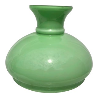 Antique 19th Century Light Green Opaline Glass Lamp Shade For Sale